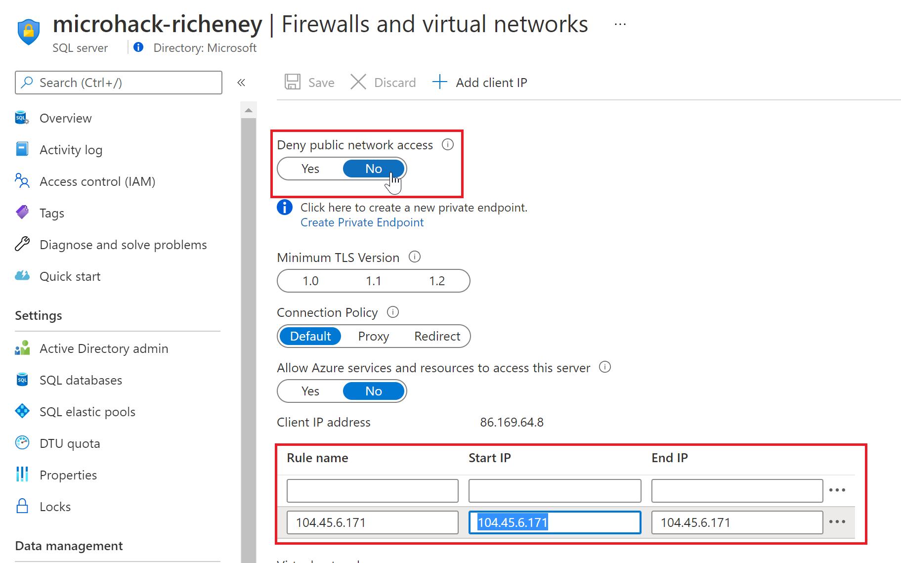 SQL server firewall
